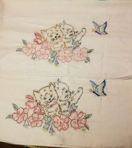 Cat Pillowcases. My first embroidery project