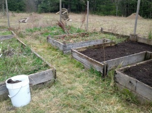Partly completed raised beds