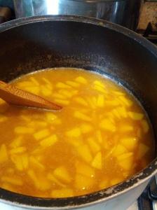 Making Peach Plum Jam