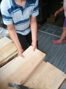 unloading Maple for handcrafted clothespins