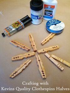 Supplies set up for Clothespin Snowflakes